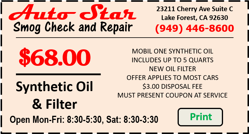 Synthetic Oil Change Discount