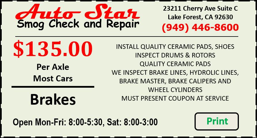 Brake Repair discount coupon
